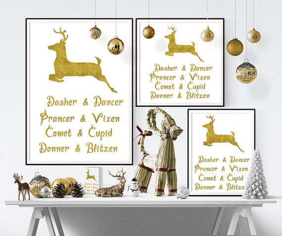 """Dasher & Dancer, Prancer & Vixen, Comet & Cupid, Donner & Blitzen, Christmas reindeer Typography Art quote, decor, digital instant download poster from 'The night before Christmas Poem' - printable wall art, large poster, rectangle and square print 24"""" x 30"""", 16"""" x 20"""", 8"""" x 10"""", 4"""" x 5"""" and 30x30"""", 20x20"""", 15x15"""", 8x8"""" and A4."""