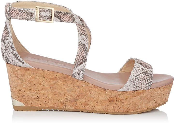 948678a5059 Jimmy Choo PORTIA 70 Ballet Pink Nubuck Snake Printed Leather Cork Wedge  Sandals http