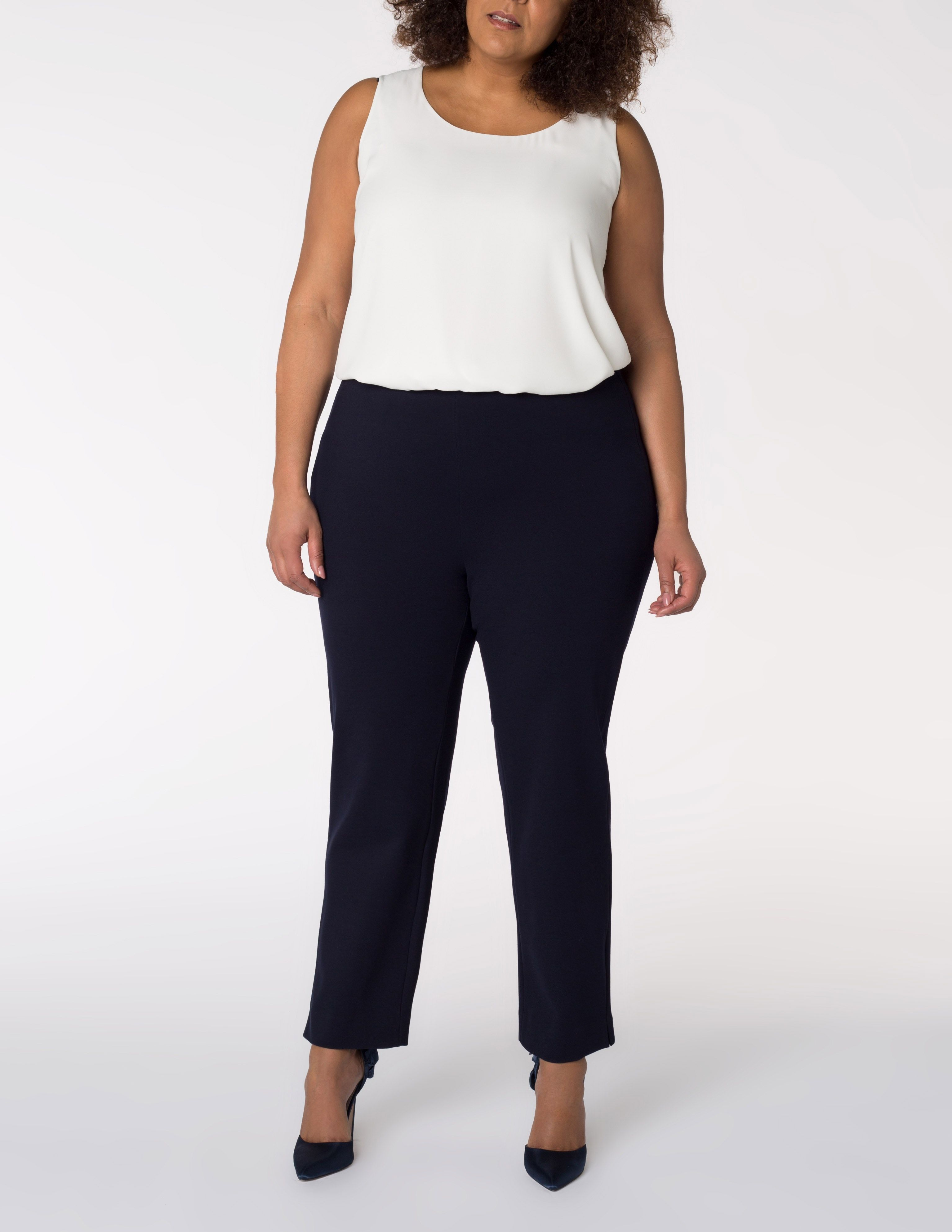 slimline trousers in petite and tall in dark-blue designed