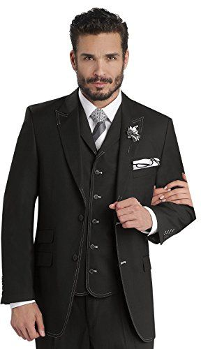 Ej Samuel Mens Black White Sch 3 Piece Suit M2688 Wedding Groom Party Fashion E J