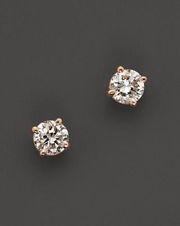 Diamond Stud Earrings In 14k Rose Gold 20 Ct T W Fine Jewelry Bloomingdale S Flower Earrings Studs Diamond Earrings Studs Jewelry