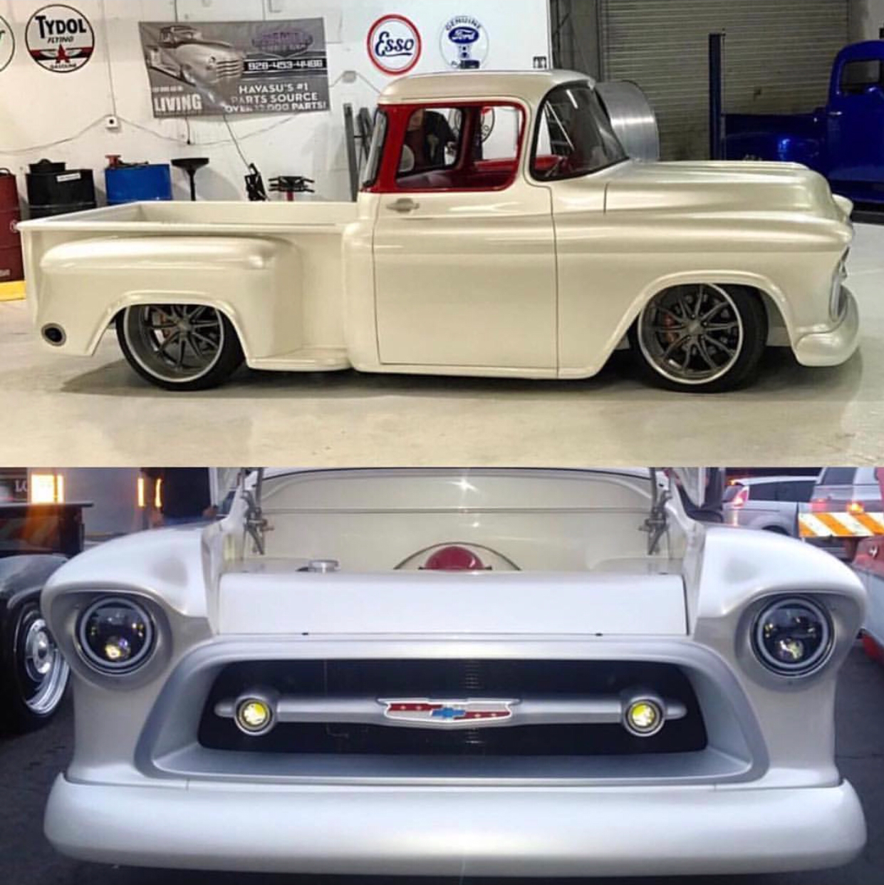 custom 1957 chevy truck with one of a kind grill [ 1241 x 1242 Pixel ]