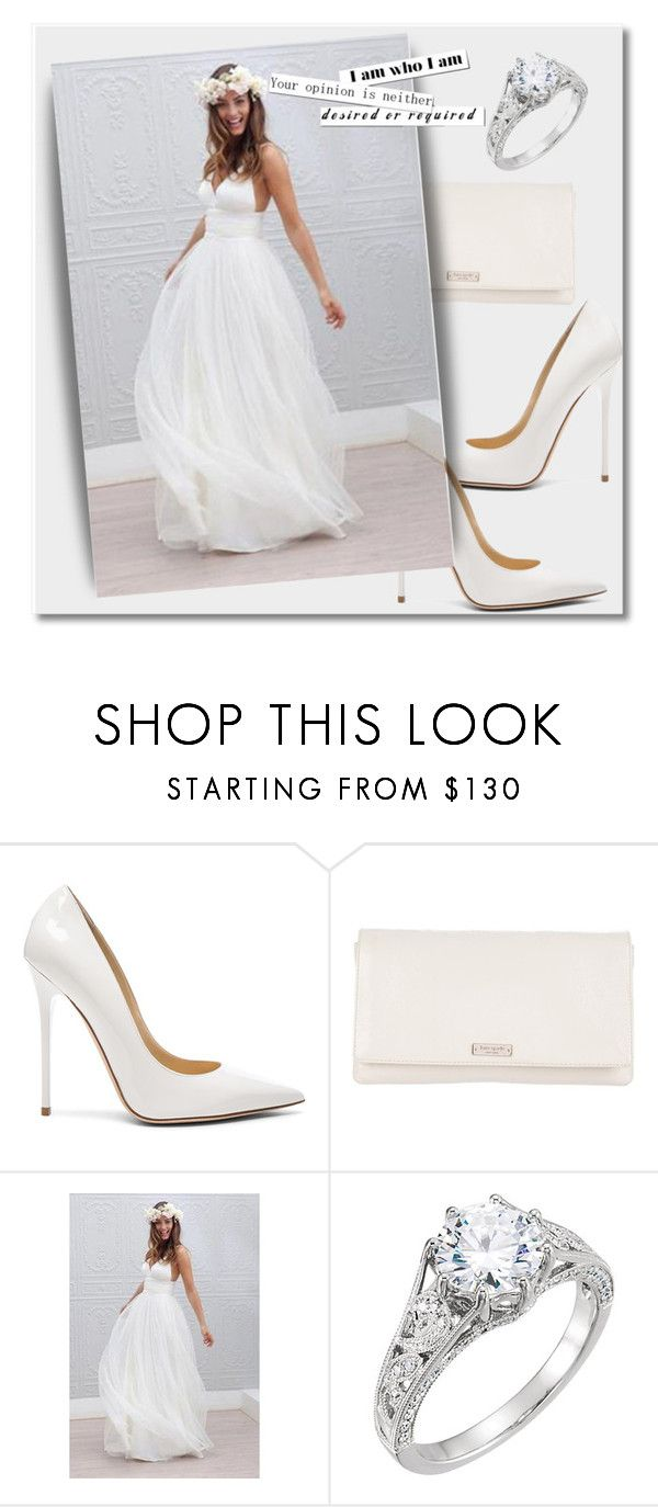 """""""Wedding dress by OKDRESS"""" by deeyanago ❤ liked on Polyvore featuring Jimmy Choo and Kate Spade"""