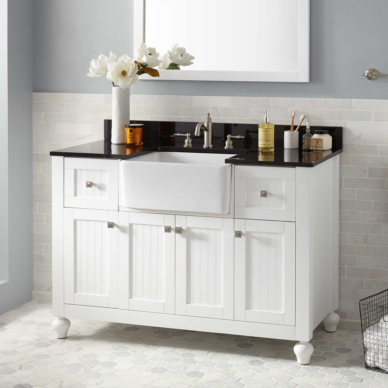 "30"" Nellie Farmhouse Sink Vanity White Bathroom"