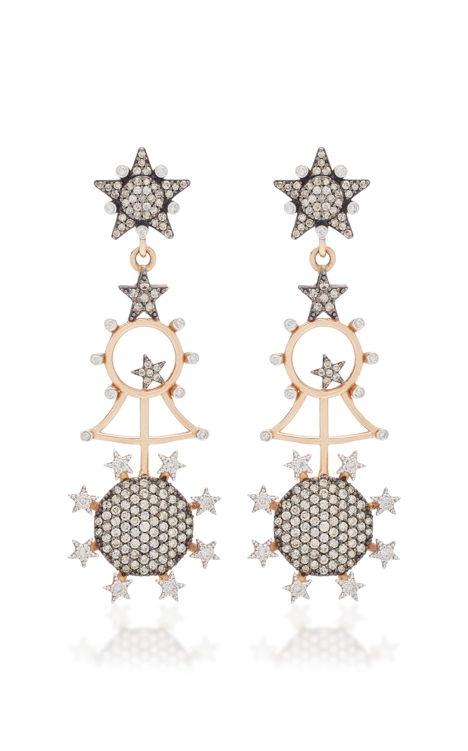 Kismet by Milka Eclectic Champagne & White Diamond Large Star Stud Earring 46M3un