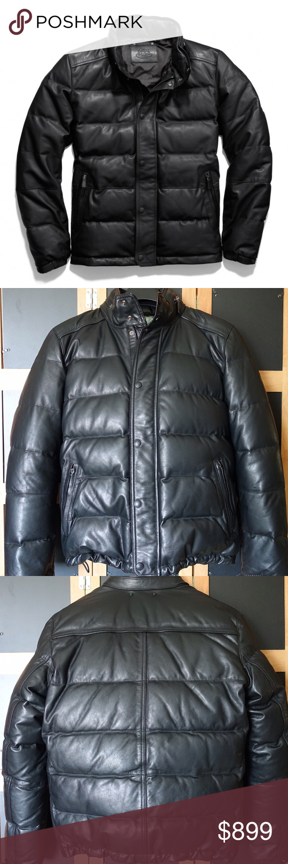 Sold Coach Clarkson Leather Down Jacket Leather Jackets Leather Zipper [ 1740 x 580 Pixel ]