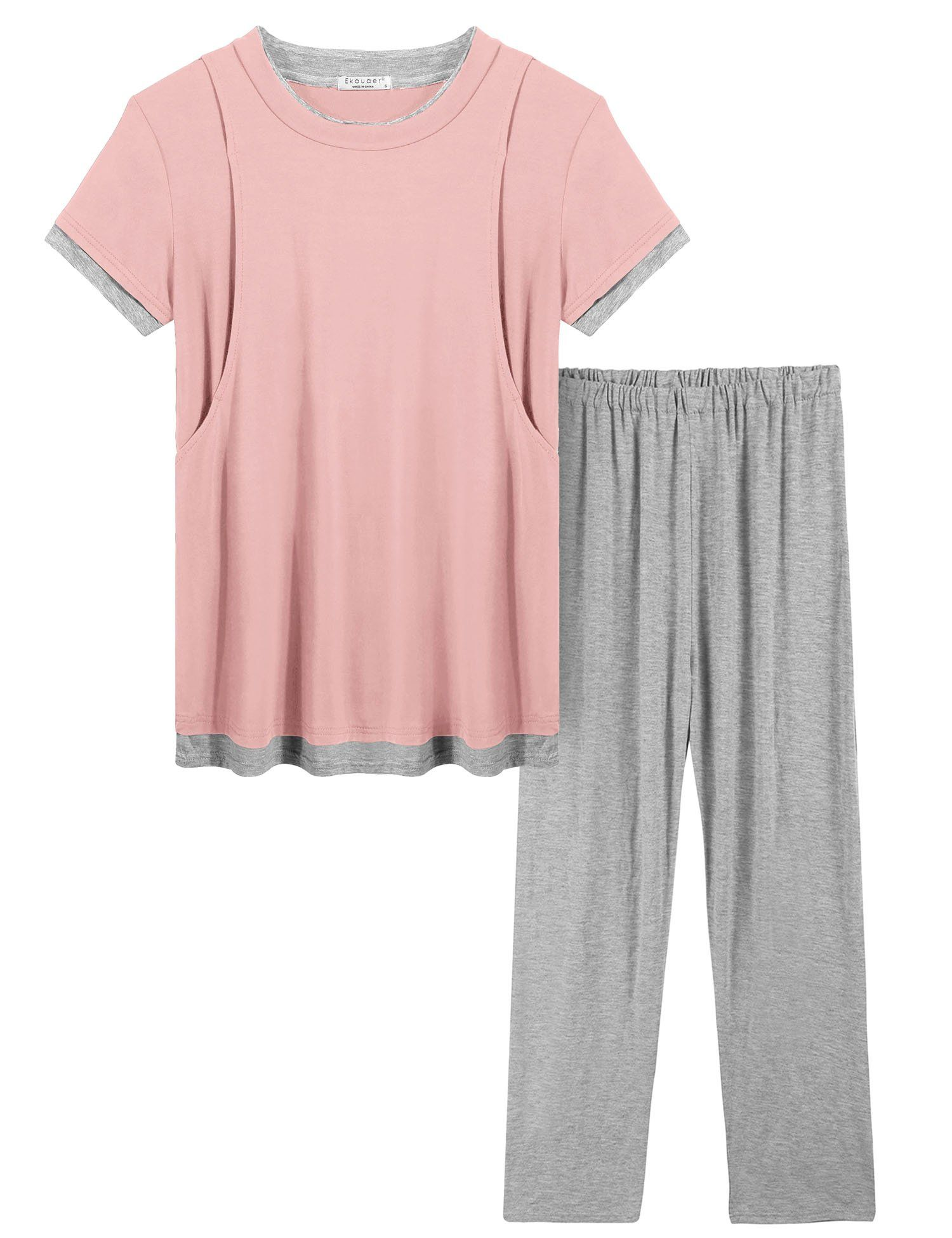 f4c8065781e21 nursing tops - Ekouaer Pregnant SleepwearONeck Short Sleeve Shirt and Long  Pants Maternity Pjs PinkM ** To check out better for this product, ...