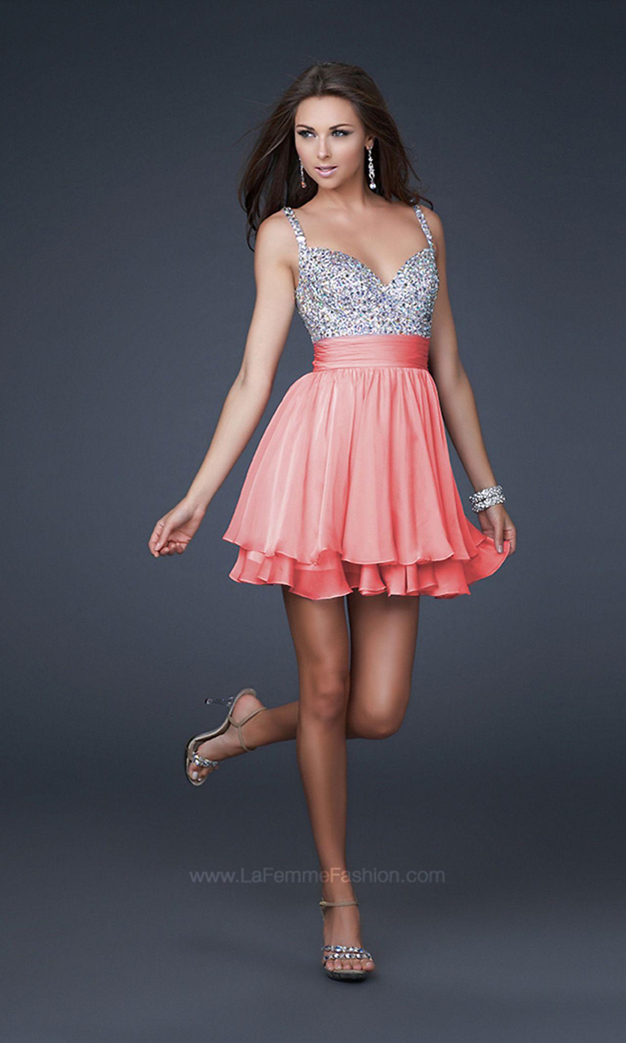 Beaded Lavender La Femme Party Dress
