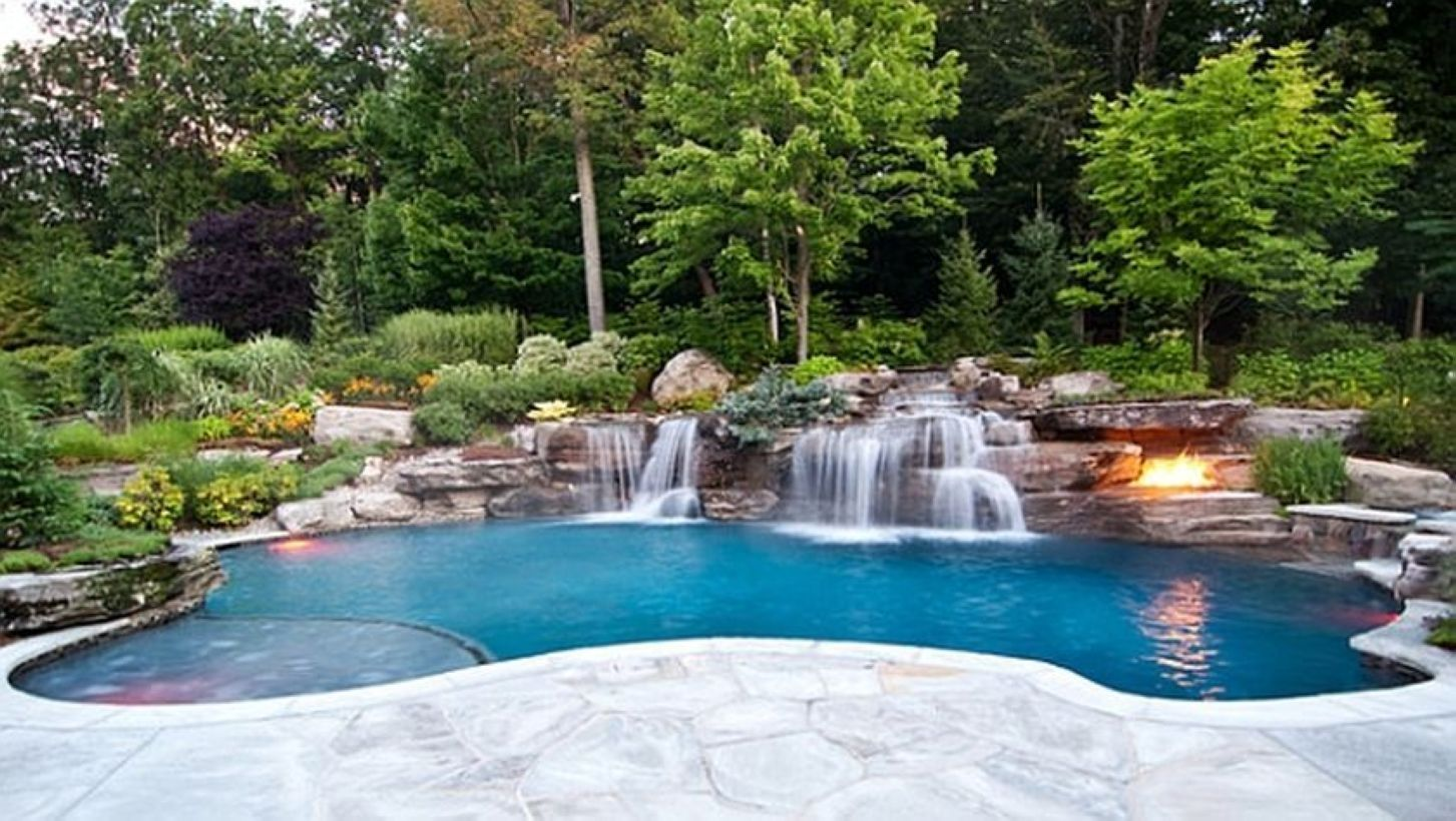 39 Pool Waterfalls Ideas For Your Outdoor Space Matchness Com Pool Renovation Backyard Pool Swimming Pools Backyard