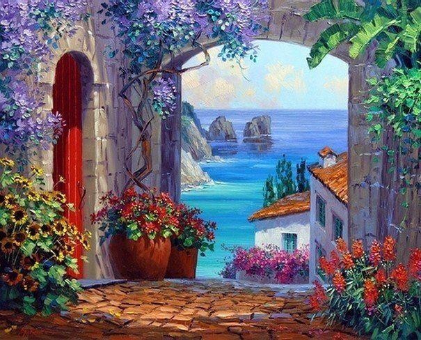 Peinture espagne photo paysage de la mer la mer for Pinterest peinture