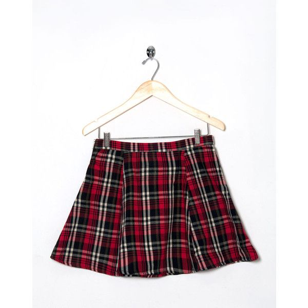 Motel Vintage Katy Check Circle Skirt 0158 SIZE L (53 AUD) ❤ liked on Polyvore featuring skirts, mini skirts, bottoms, vintage mini skirt, vintage skirts, silver skater skirt, flared skirt and mini skater skirt