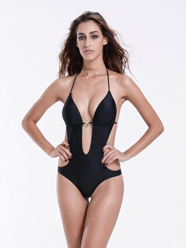 81430ed4be01b Zeraca Women s Deep Plunge Low Waisted Triangle One Piece Swimsuit Bathing  Suit - zeraca