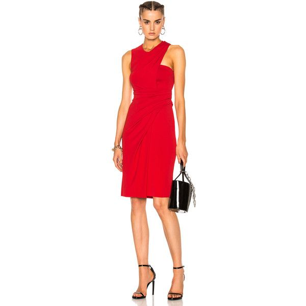 Alexander Wang Asymmetric Draped Midi Dress ($680) ❤ liked on Polyvore featuring dresses, calf length dresses, ruching dress, alexander wang dress, gathered dress and midi cocktail dress