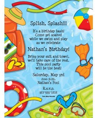 Summer Splash Pool Party Invitations Pool Party Invitations - birthday invitation pool party
