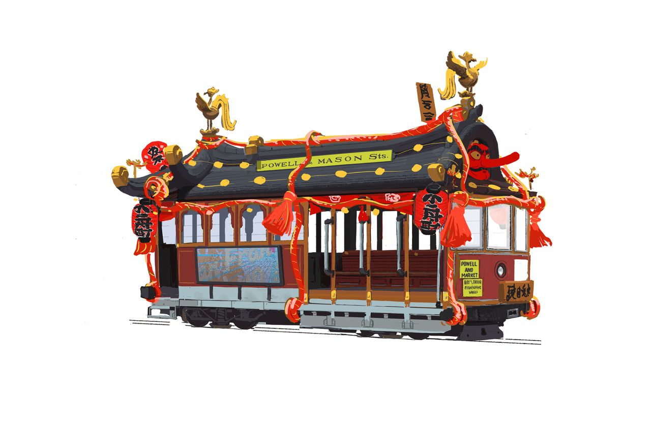 this was an earlier Big Hero 6 cable car design that never made it to themovie. I was following up a design from Tadahiro (I think it's probably roaming around online somewhere, but this version is a variant made for a festival