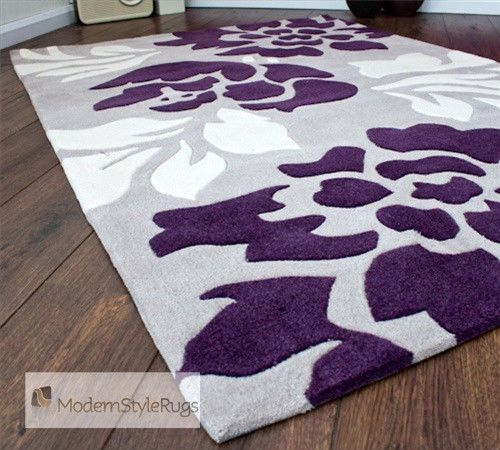 Grey purple and cream modern new luxury rug 2 sizes for Purple area rugs contemporary