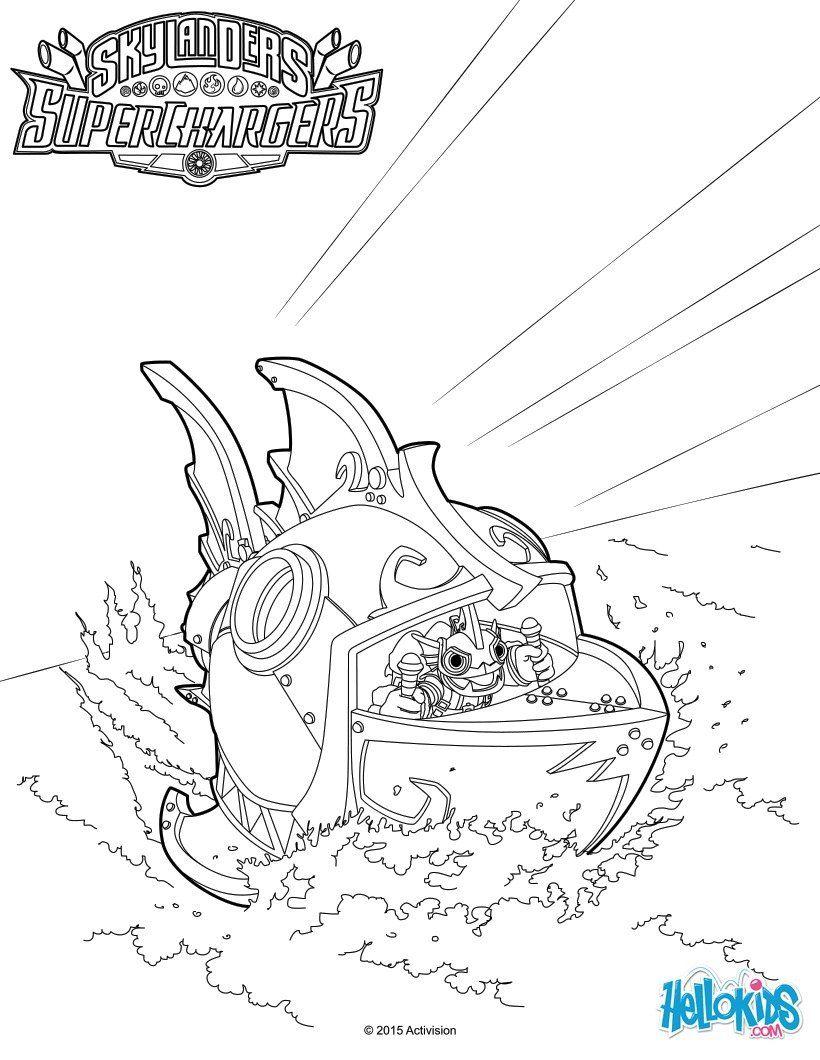 Voici un joli coloriage de skylanders superchargers inedit voici un dessin de reef ripper plus - Coloriage eye brawl ...