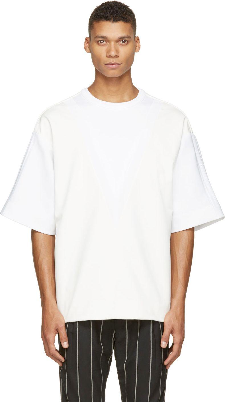 Download Juun J Off White Coated Knit Oversized T Shirt Oversized Shirt Men Mens Fashion Streetwear White Tshirt Men