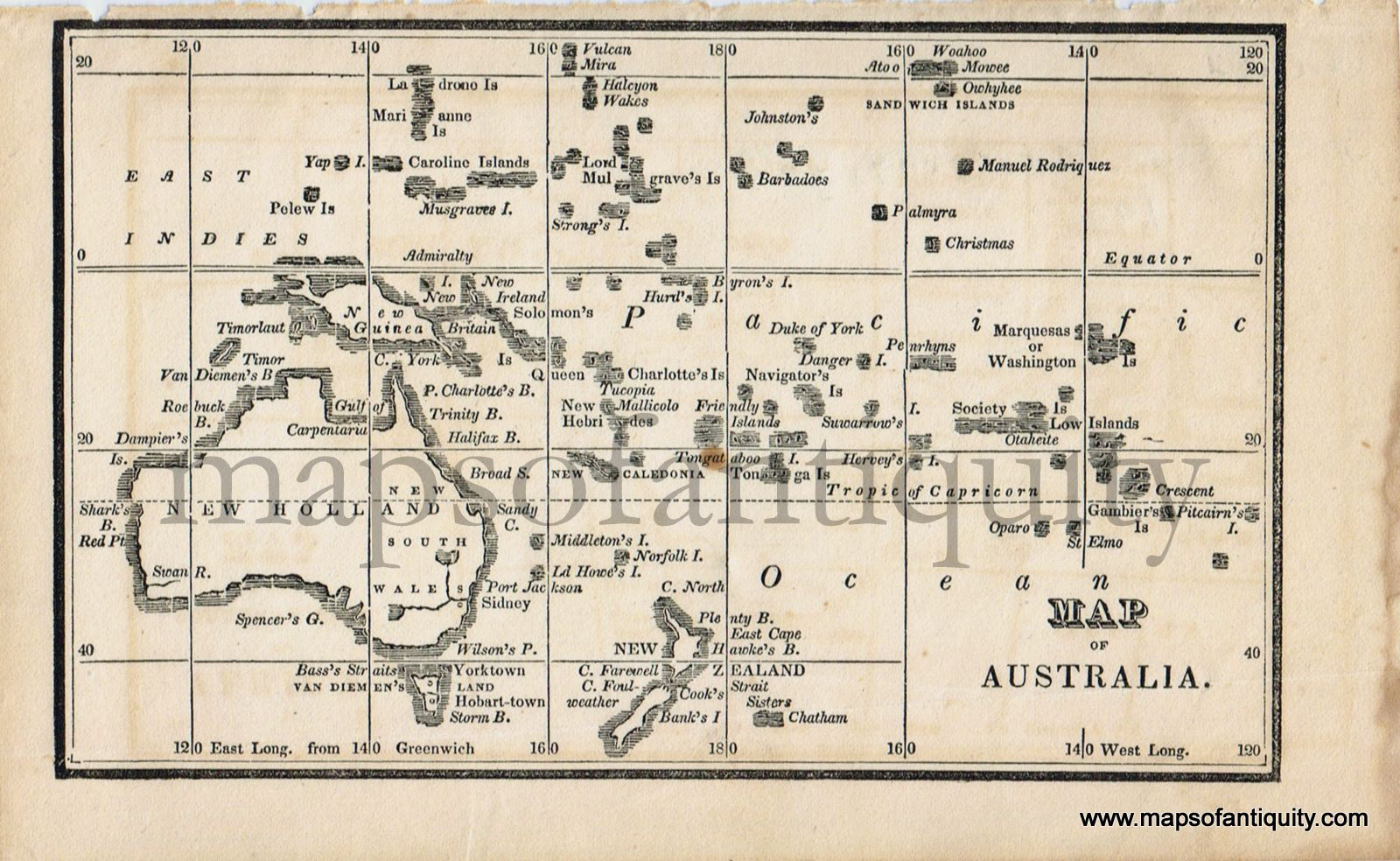 Map Of Australia 1830.Antique 1830 Map Of Australia From A Small Boston School
