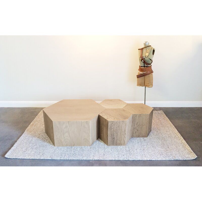 Solid Wood Block Coffee Table With Images Coffee Table Hexagon Coffee Table Coffee Table Wood