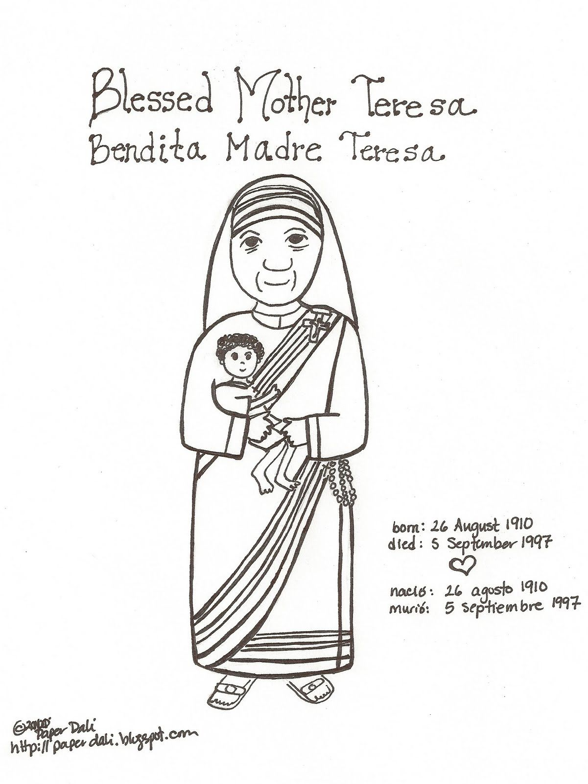 Download a coloring page/paper doll of Blessed Mother Teresa of ...
