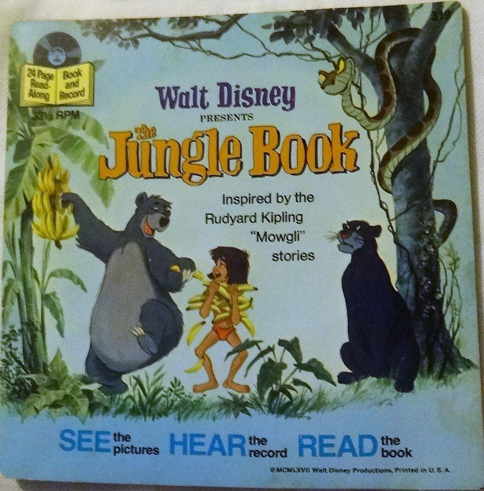 1967 Walt Disney Presents The Jungle Book Book And Record 33