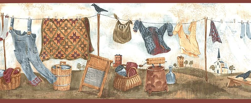 Country Laundry Wallpaper Border, WT1046B room clothesline
