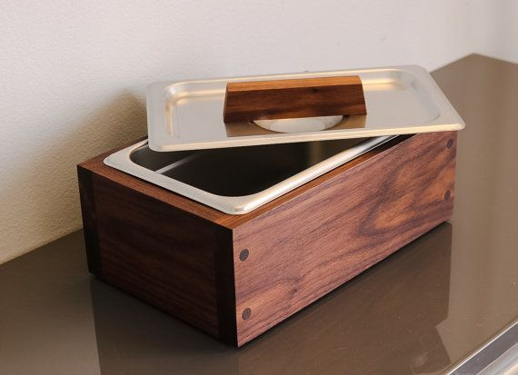 Modern Handmade Walnut Wood Countertop Compost Bin Storage Bin