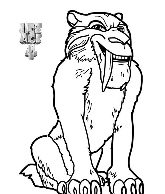 Saber Tooth Cat Coloring Page Pics