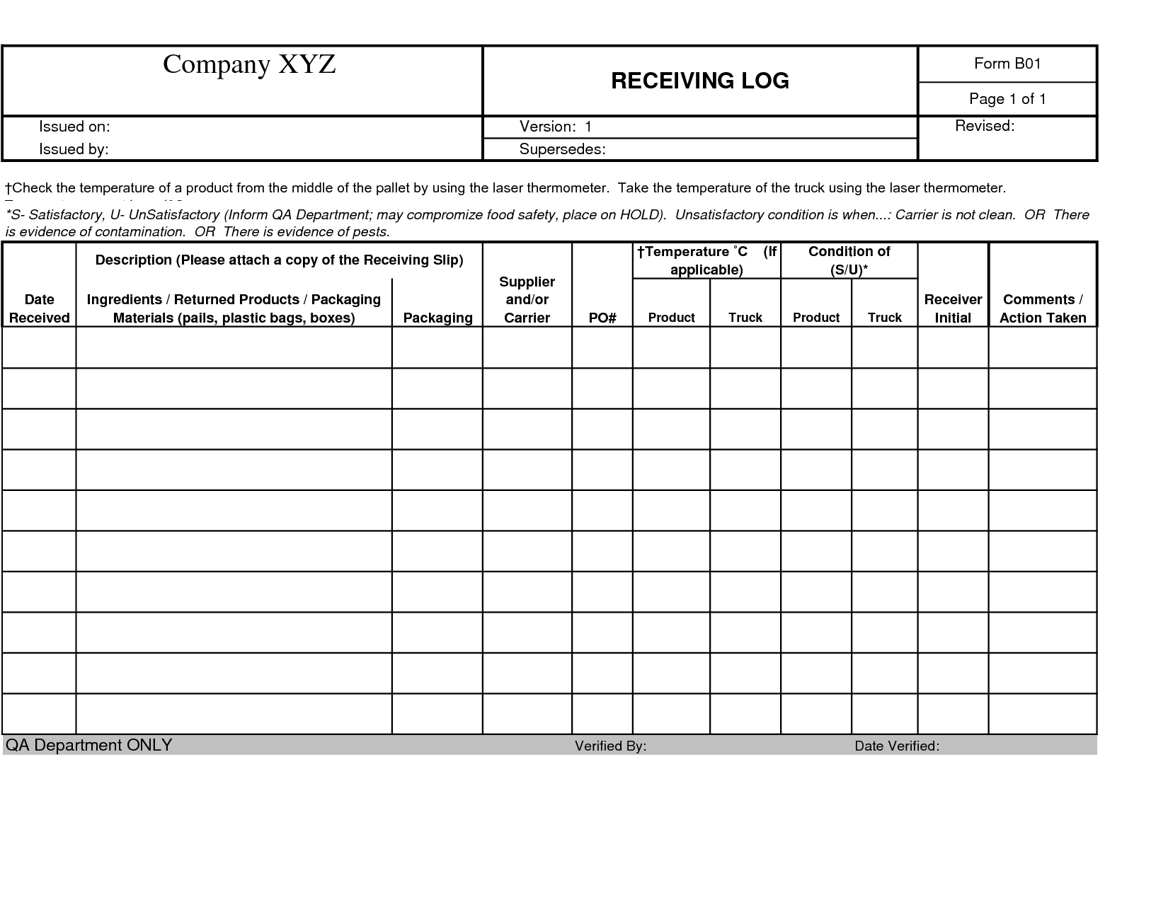 shipping and receiving log