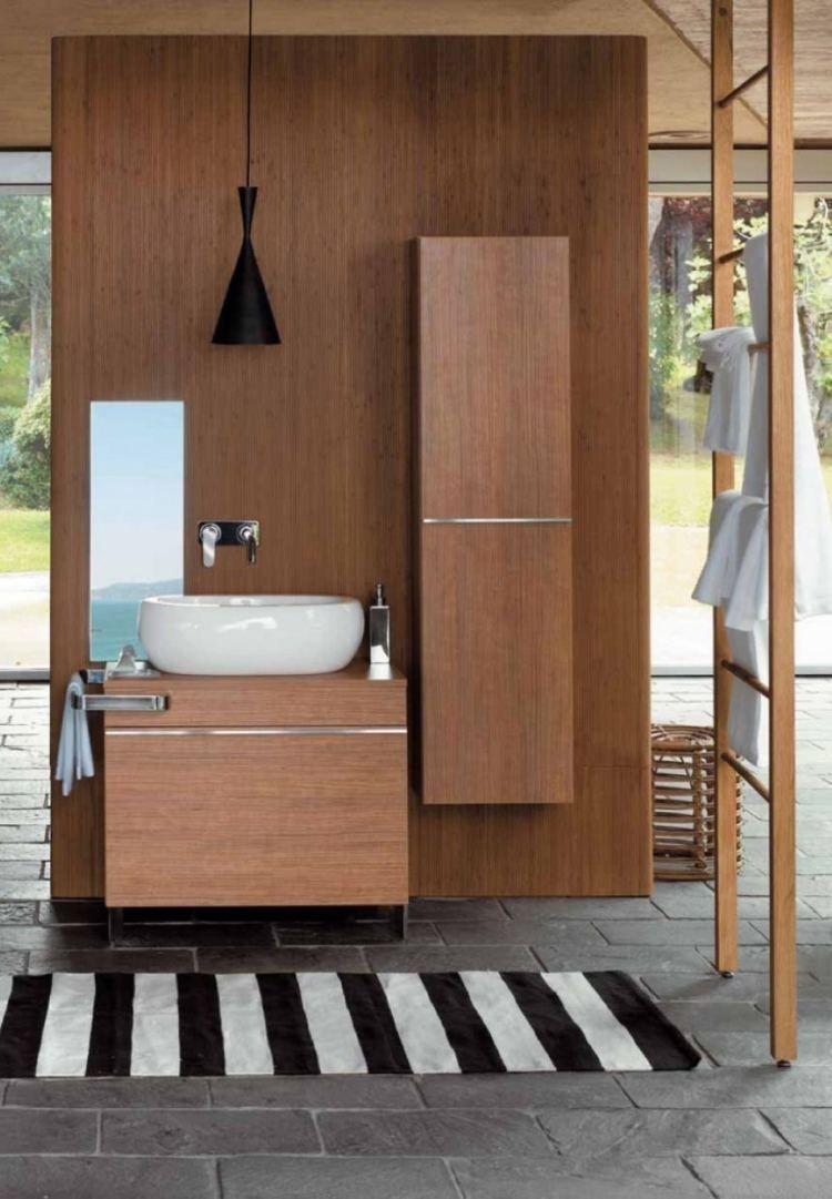 meuble sous-lavabo et colonne de rangment suspendus en bambou