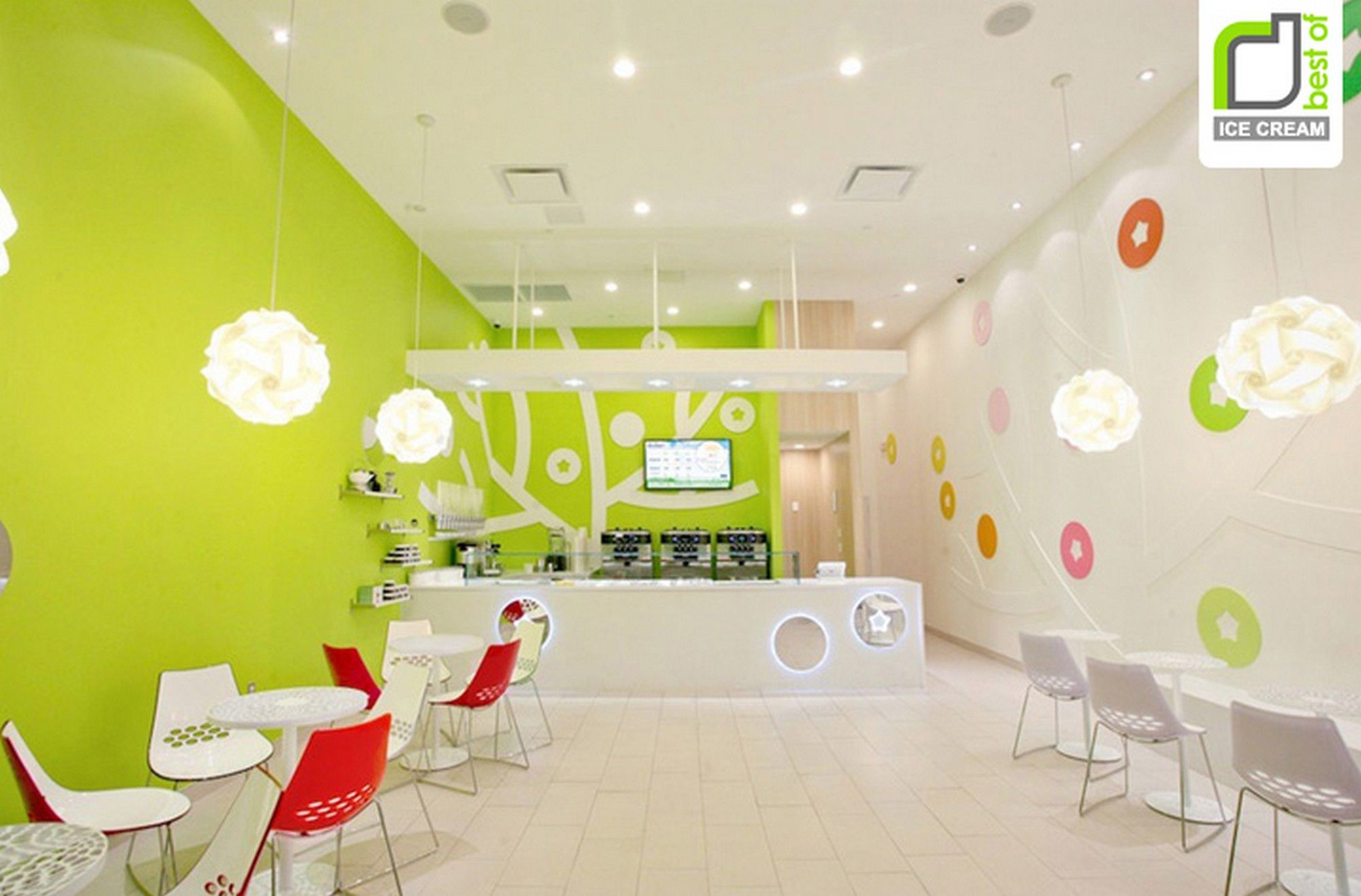 Decorating cool interior design of an ice cream shop with green wall paint ideas and small round table sets best ice cream shop design ideas