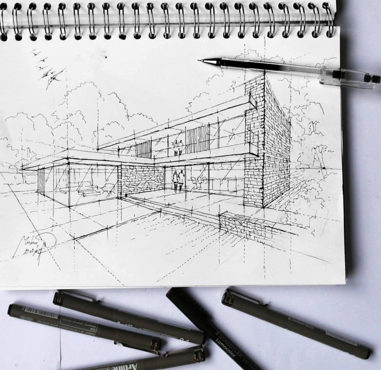 Sketch Drawing Art Drawings Figurative Modern Houses Croquis Sketchbooks Hobbies Arquitetura Sketches
