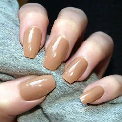 20x Beige Nude Ballerina/Coffin Glossy False Nails