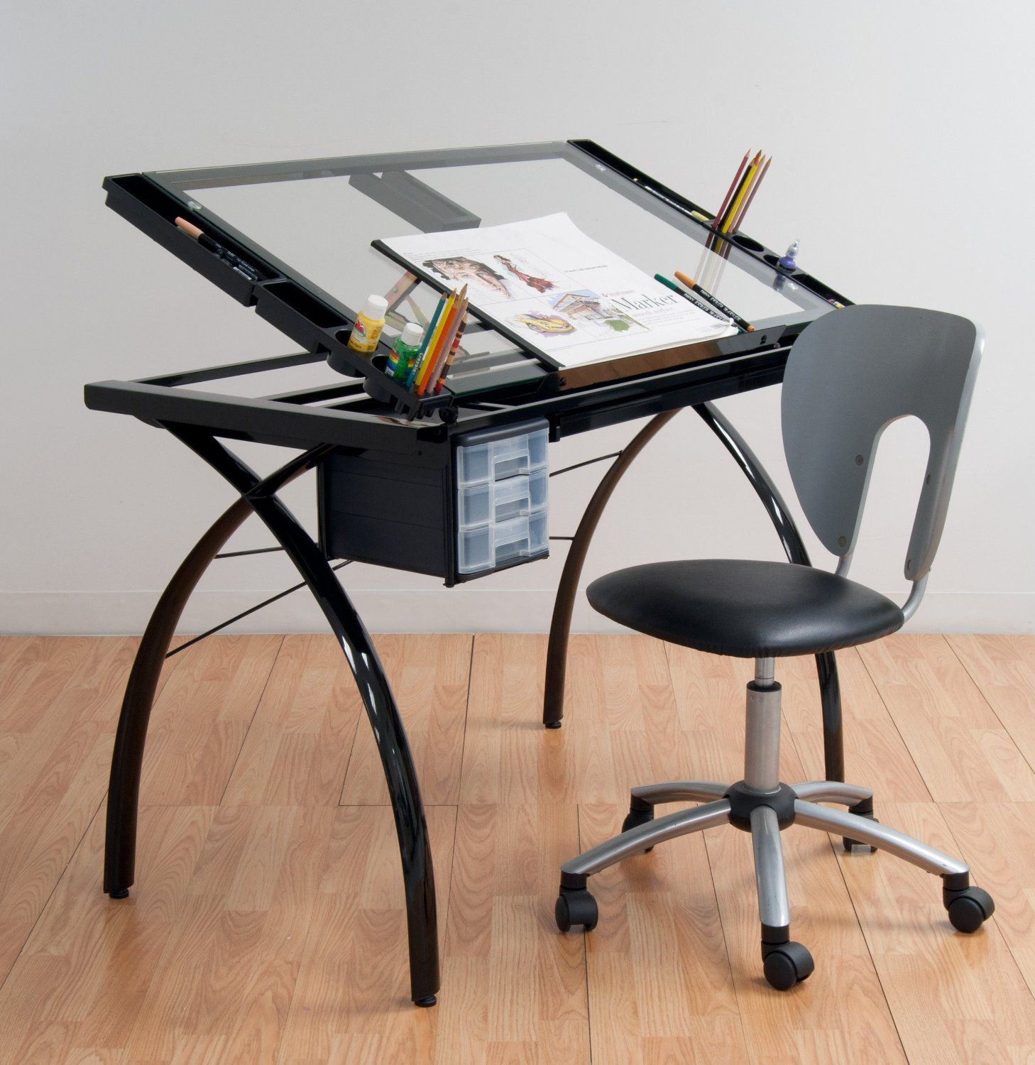 The Perfect Multi Functional Contemporary Table, The Futura Drafting Table  With Glass Top Is Great For Drafting, Drawing, Or Crafting On Its Large  Tempered ... Amazing Design