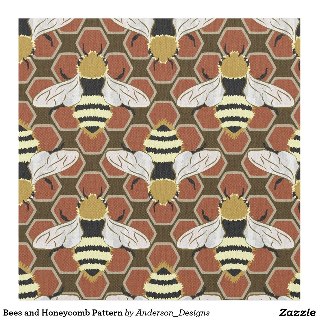 Bees and Honeycomb Pattern Fabric by @andersondesigns #fabric #sewing