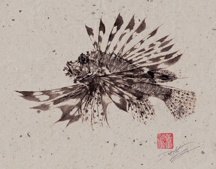 LIONFISH (Hanami No Kasago) Gyotaku print - traditional Japanese ...