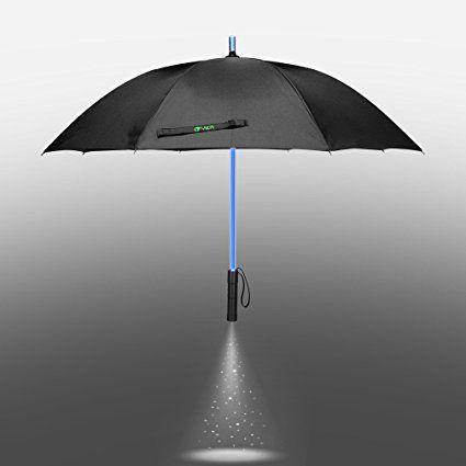 Yier Spada laser con luce a LED: Nero trasparente ombrello con 7colori