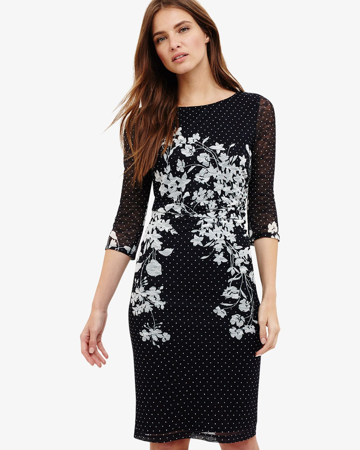 5a50993d0ed8 Phase Eight Daisy Floral Lace Dress Blue