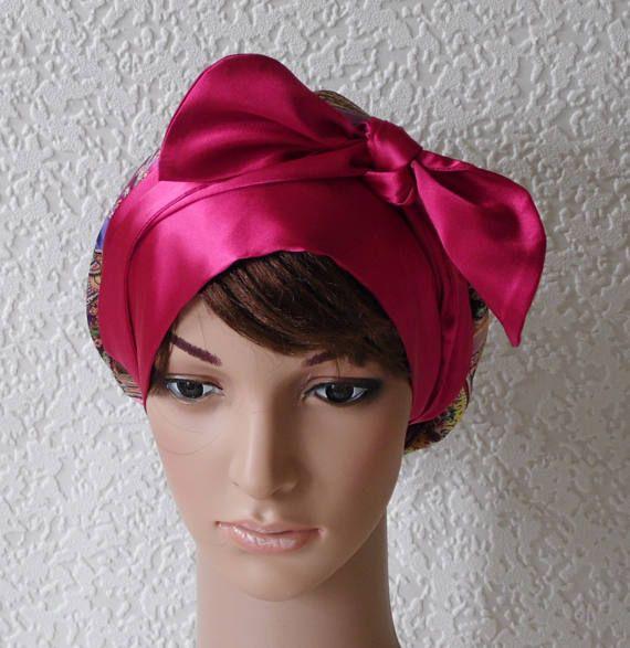 natural curly hair tie self tie apron style headwear satin head scarf elegant tichel Lightweight satin head snood bonnet with long ties
