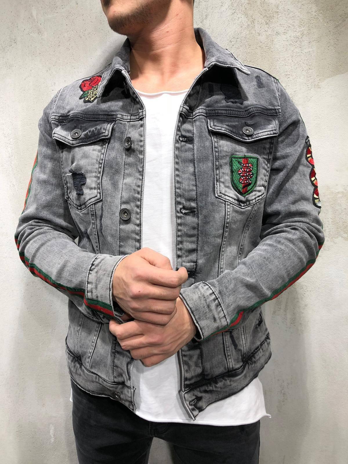 Denim Jacket Snake Patch Embroidery Gray Ripped Jacket Jackets Men Fashion Grey Denim Jacket [ 1600 x 1200 Pixel ]