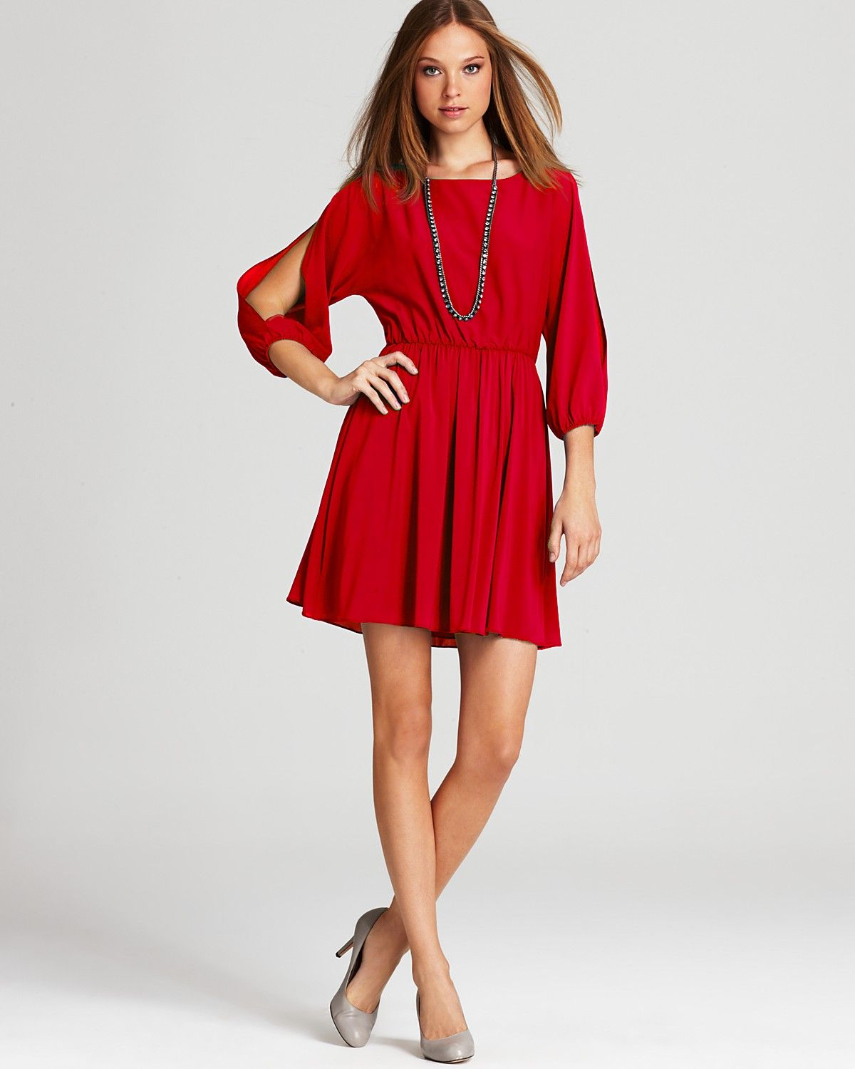 Alice Olivia Dress Lass Cold Shoulder Balloon Sleeve Mini Women Contemporary Bloomingdale S Designer Outfits Woman Dresses Red Silk Dress [ 1500 x 1200 Pixel ]