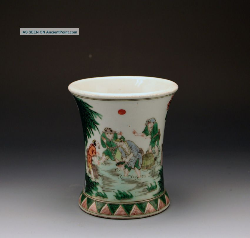 CHINESE BRUSH POTS | Chinese Kangxi Style Famille Verte Fisherman Porcelain Brush Pot Brush ...