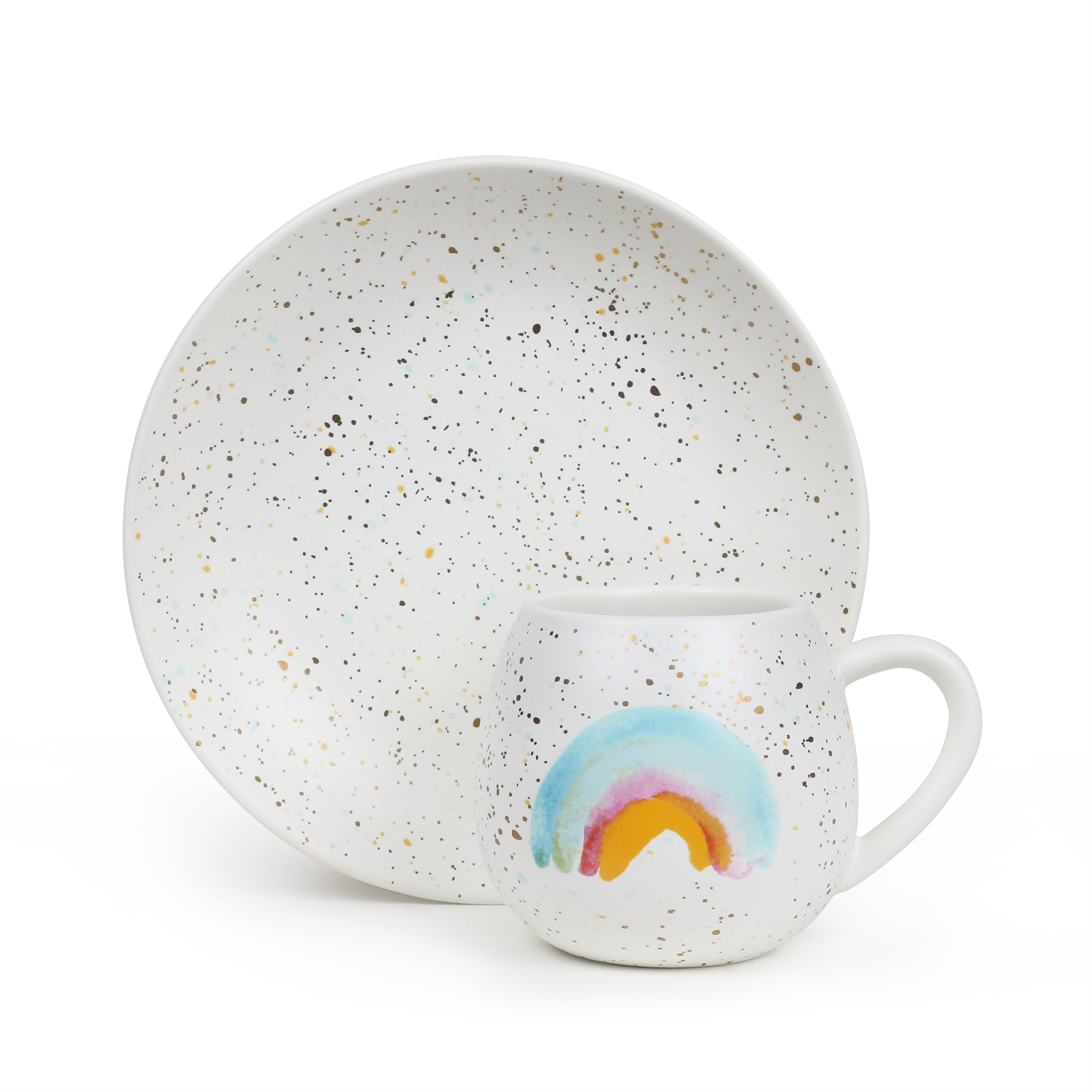 Mini Hug Me Mug And Plate Set Rainbow Splatter Robert Gordon Australia Childrens Mugs Plate Sets Mugs