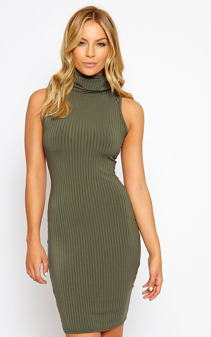 e905fa269acb Marissa Khaki Ribbed Turtle Neck Mini Dress Image 1