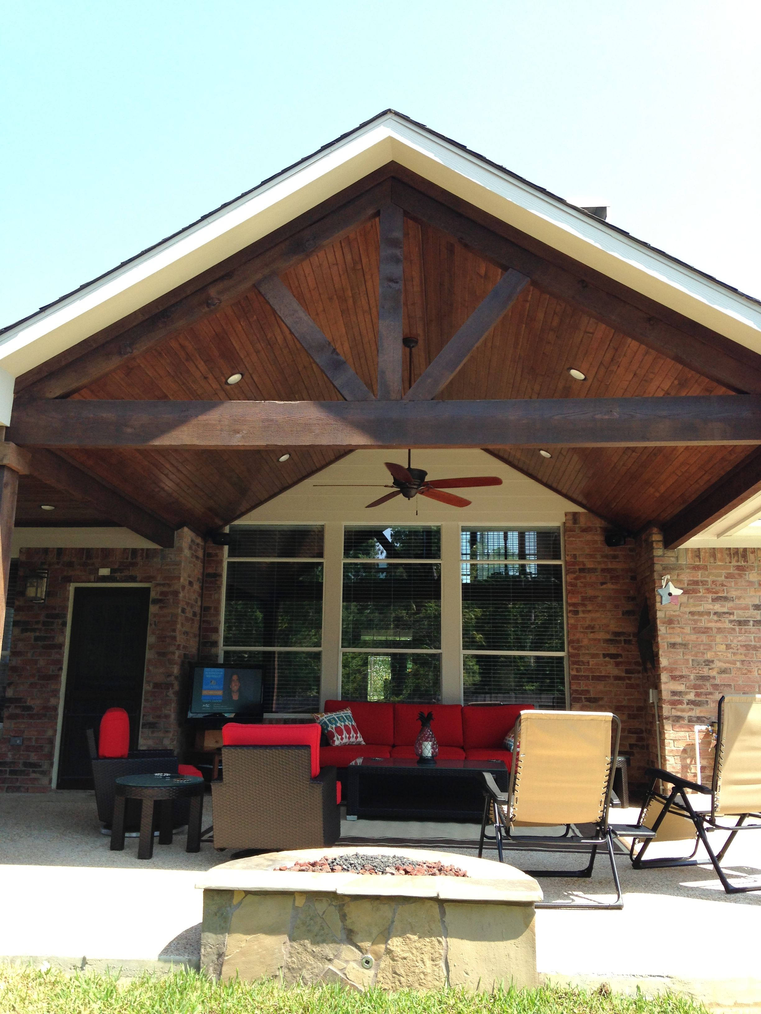 Gable Roof Patio Cover Attached To Existing House With Cedar Beams And  Posts, And Wood Stained Ceiling   Yelp