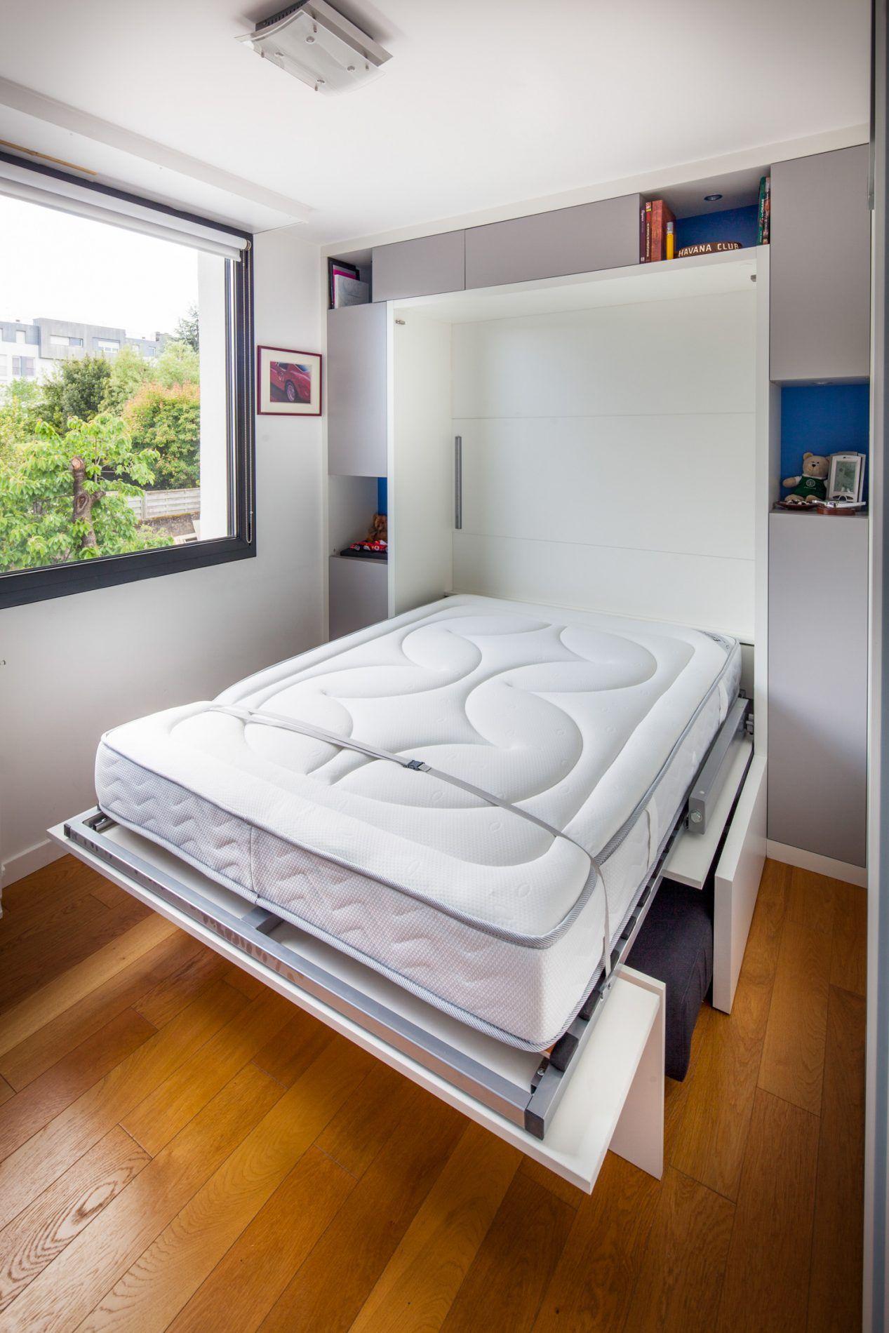 Placard Avec Lit Integre lit armoire blanc avec canapé intégré gris anthracite   lit