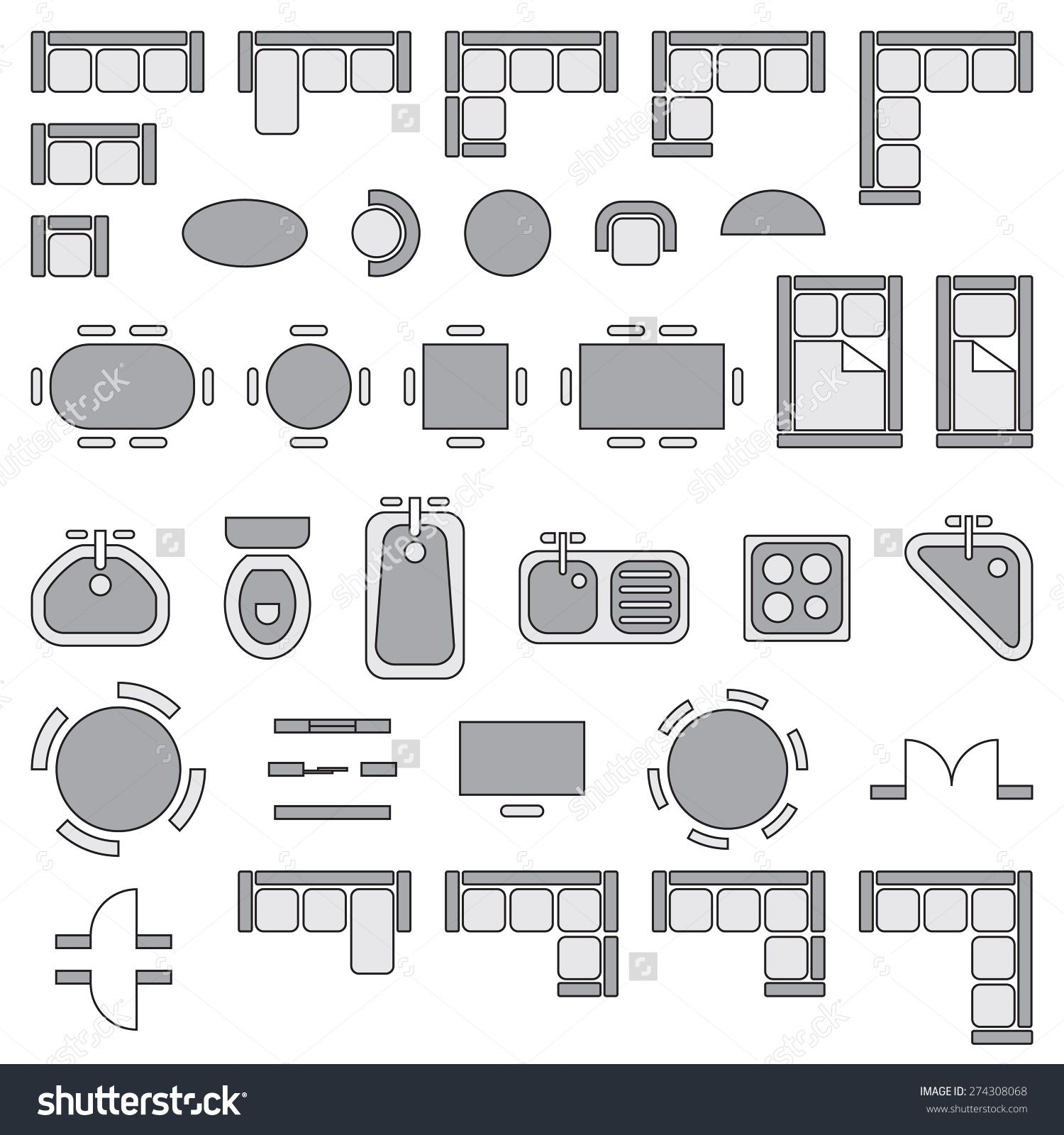 Image result for symbols for household furniture for Interior design cad free