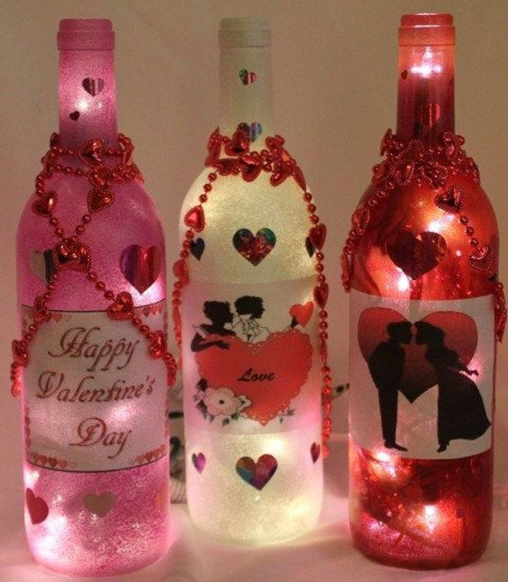 Cute Wine Bottle Craft Decorating Ideas For Valentines Day 47 Valentines Wine Bottles Valentines Wine Bottle Crafts