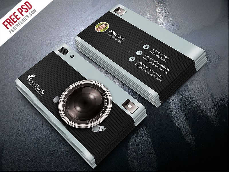 Photography business card template free psd photography for Portrait business cards